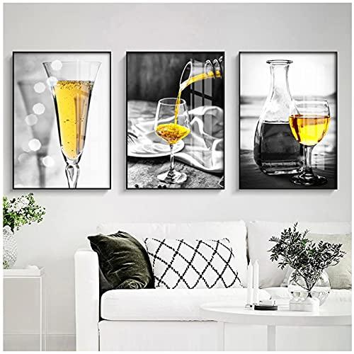 MENGX Impresión de Lienzo de Creatividad, póster de Copa de Vino Amarillo e Impresiones Modernas imágenes artísticas de Pared Bar Sala de Estar decoración del hogar sin Marco