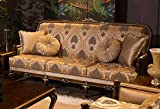 Casa Padrino sofá Barroco de Lujo Gris/marrón/Oro 221 x 80 x A. 110 cm - Sofá de salón con patrón Elegante y Cojines Decorativos - Muebles de salón Nobles en Estilo Barroco