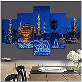 czjungbf Imprimir Islámica Turquía Estambul Mezquita del Sultán Ahmed Paisaje religioso sobre Lienzo Pintura Modular de Pared para Sala de estar-40x60 40x80 40x100cm Sin Marco x5