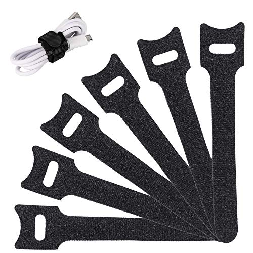 Reusable Cable Ties Management Straps - 6 Inch Strong &Microfiber fastening cloth, Adjustable Fastener Cable Strap Hook and Loop Cord Ties, 20 Piece, Black.