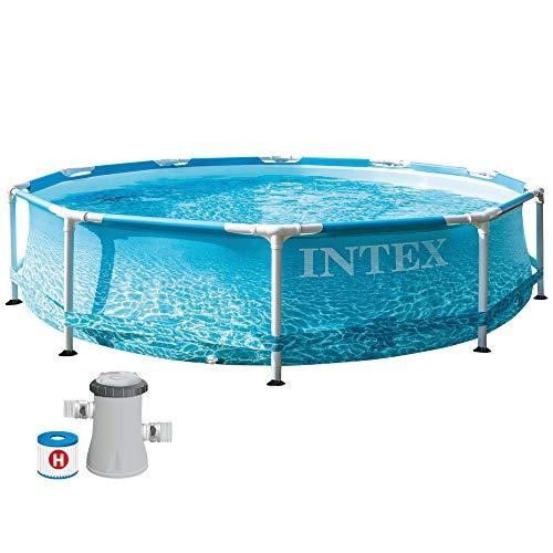 Intex 55241 - Piscina desmontable redonda INTEX, piscina Metal Frame, con depuradora 1.250l/h, Ø305x76 cm, 4.485 litros, diseño fotorrealista del fondo marino, INTEX 55241