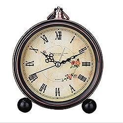Classic Retro Antique Design European Style Decorative Alarm Clock Quartz Movement Battery Operated Analog Large Numerals Bedside Table Desk Alarm Clock, HD Glass Cover, Easy to Read(Roman,Flower)