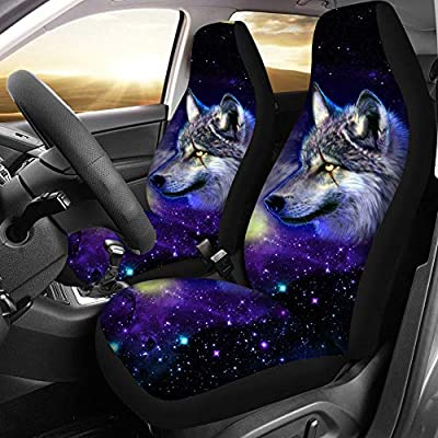 HUGS IDEA Cool Galaxy Wolf Starry Night Wolves Car Front Seat Covers Black Background Saddle Blanket Elastic Universal Size for Cars, Sedan, SUV, Van, Truck