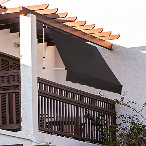 Strattore Klemmmarkise/Balkonmarkise Sonnenschutz Markise - ohne Bohren - Manuell einziehbar - 200 x 120 cm - Anthrazit