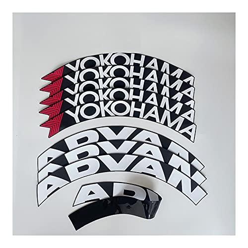 Etiquetas engomadas de las rayas de las llantas 8 unids / lote advan neumático de cúmbito con letras etiquetas sintonizador de automóvil universal 3d PVC permanente unido letras de letras de neumático