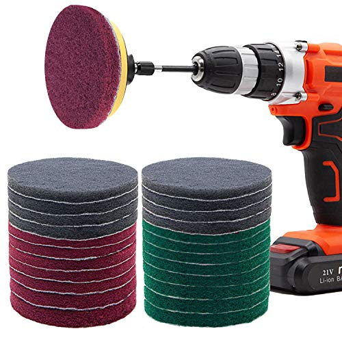 Power Scrubber Pads Kit Drill Attachment, GOH DODD 26 Pieces 4 Inch Drill Brush Scouring Cleaning Pads Great for Kitchen, Bathroom, Auto, Grout, Carpet, Shower, Tub, Grill,Tile, Sanding, Car Headlight