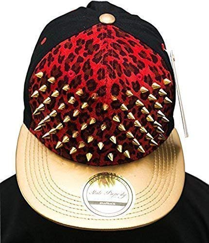 Bling leopard Rouge clouté SP Casquette de baseball à visière plate or-collection Chapeau