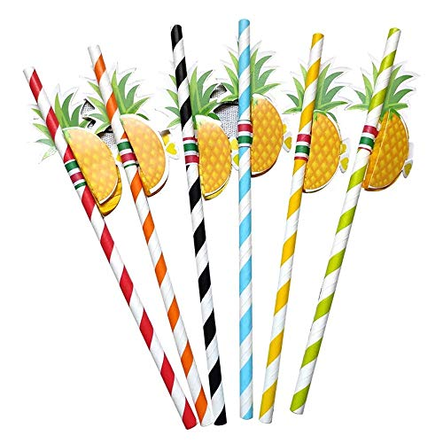 Pajitas de Papel,50 Pack Pajitas Para Beber 3D Piña Papel de Fruta Paja para Cóctel Bebidas Tropicales Playa Cumpleaños Celebración de Bodas Fiesta
