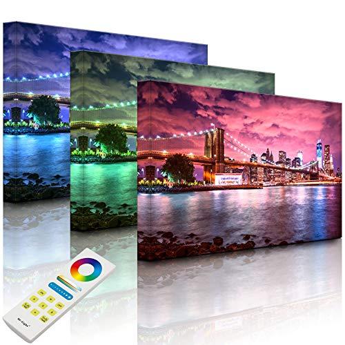 Lightbox-Multicolor | LED Bild | Skyline New York | 100x70 cm | Fully Lighted