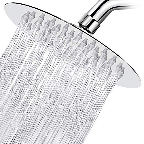 High Pressure Shower Head, STrighter 6 Inch Stainless Steel Rain Showerhead, Ultra-Thin Best Pressure Boosting with Silicone Nozzle, High Flow Round Rainfall Shower Head, Chrome Finish
