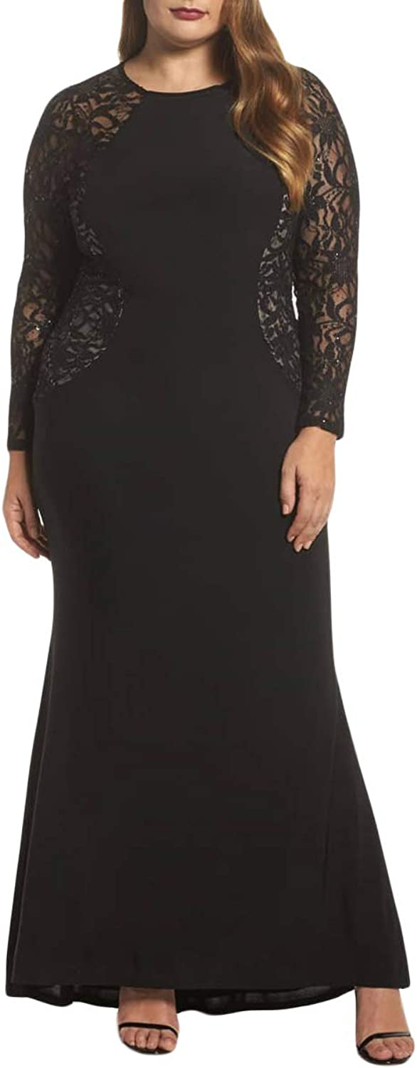 Silk Road Original Women Lace and Knit Plus Size A-line Gown