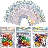 300 Bolsas de Mylar Resellables Bolsa a Prueba de Olores Bolsa Ziplock de Plástico de Embalaje de Papel Aluminio Con Agujeros de Elevación para Dulces, Color Arcoíris Holográfico, 2,4 x 3,9 Pulgadas