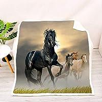 3Dプリント馬柄ソファブランケット、素敵なリビングルームブランケットフランネルブランケット、ベッド用、ラップブランケット、馬好きの友達へのプレゼント-G_135x150cm * 1