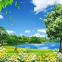 Ljunj カスタム3D写真壁紙青空白い雲草原湖水木花自然風景壁壁画壁紙家の装飾-400X280Cm