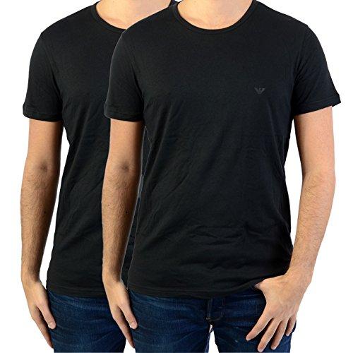 Emporio Armani 111647 Camiseta Interior, Negro (Black), Medium (Tamaño del Fabricante:M) (Pack de 2) para Hombre