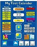 Calendario magnético Azul para Aprender inglés, Color Azul Pizarra rígida de 40 x 32 cm con Sistema de suspensión.