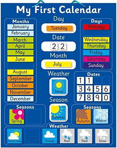 Calendario magnético azul para aprender inglés, color azul Pizarra rígida de 40...