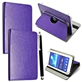 """Mobile Stuff Universal 360° Rotational Colourful Various PU Leather Stand Case Cover Fits All 7"""" Inch Android Tablets tab devices + Free Stylus Pen (Universal 7'' purple)"""