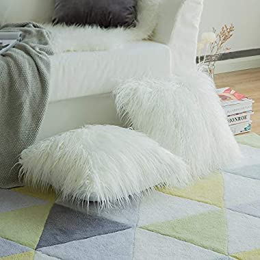 MIULEE Pack of 2 Christmas Decorative New Luxury Series Style White Faux Fur Throw Pillow Case Cushion Cover for Sofa Bedroom Car 18 x 18 Inch 45 x 45 cm