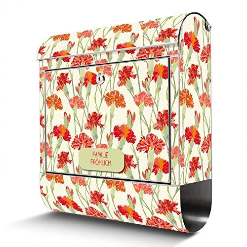 BANJADO Edelstahl Briefkasten mit Zeitungsfach | Design Motivbriefkasten | Briefkasten 38x43x12cm groß | Postkasten mit Montagematerial | 2 Schlüssel Motiv Rote Nelken mit eigener Beschriftung
