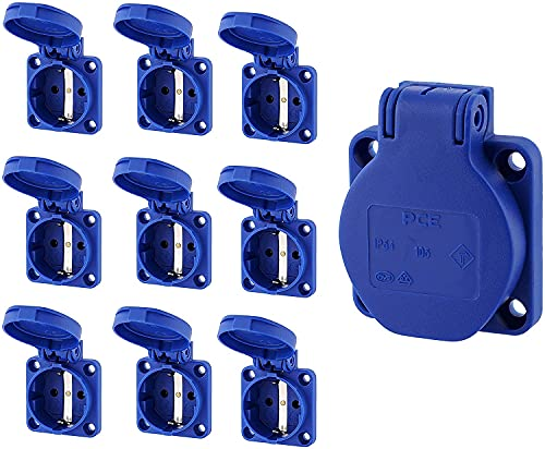 Pack de 10 enchufes empotrados con tapa de muelle, IP54, 50 x 50 mm