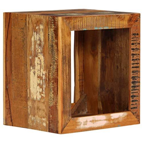 ROMELAREU kruk 40 x 30 x 40 cm gerecycled massief hout meubels tafels siertafels bijzettafels