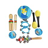 ammoon 10pcs / set Juguetes musicales Instrumentos de percusión Kit de ritmo de banda Incluso Pandereta Maracas Castañuelas Campanas Guiro de madera para Niños Niños Pequeños