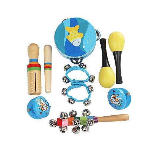Ammoon Lot de 10 jouets musicaux Instruments de percussion Avec tambourin, maracas, castagnettes, grelots, güiro en bois pour enfants bleu