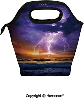 Insulated Neoprene Soft Lunch Bag Tote Handbag lunchbox,3d prited with Epic Lightning and Storm on the Sea Wave Horizon Bad Weather Atmosphere Home,For School work Office Kids Lunch Box & Food Contai