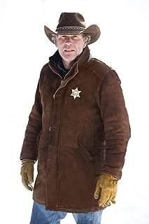 Men's Sheriff Walt (Robert Taylor) Cow Suede Leather Coat (Black, Officer Coat) - 1502774