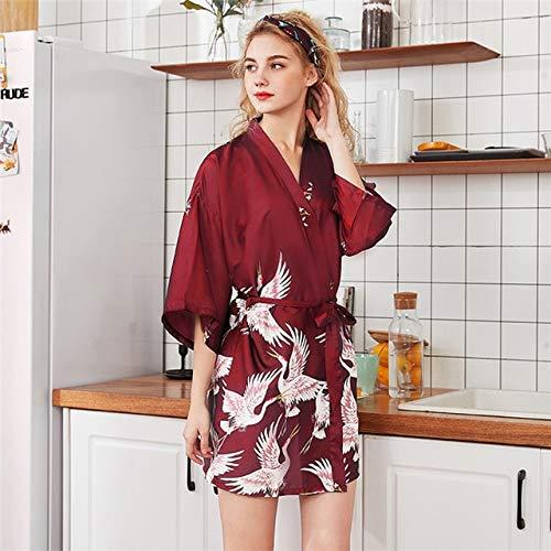 IAMZHL Accappatoio Kimono in Raso Nero Estivo Donna Abito da Sposa per Damigella d'Onore Abito da Sposa Abito da Notte Lungo a Fiori Sexy-Short Robe 8-3-XL