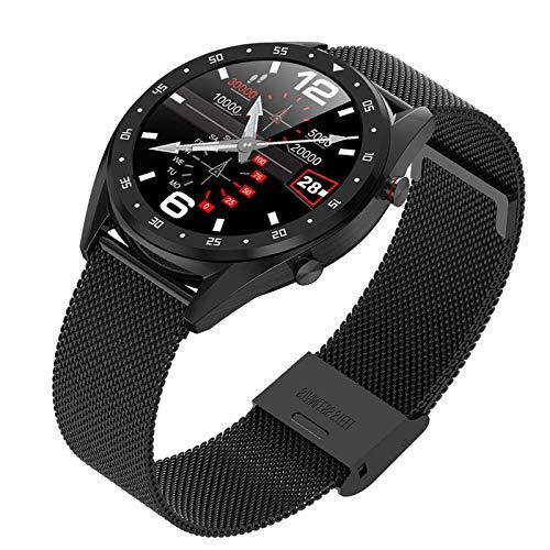 Reloj inteligente de 1,3 pulgadas, IP68, resistente al agua, control de presión arterial/frecuencia cardíaca, pulsera deportiva para el cinturón de acero negro
