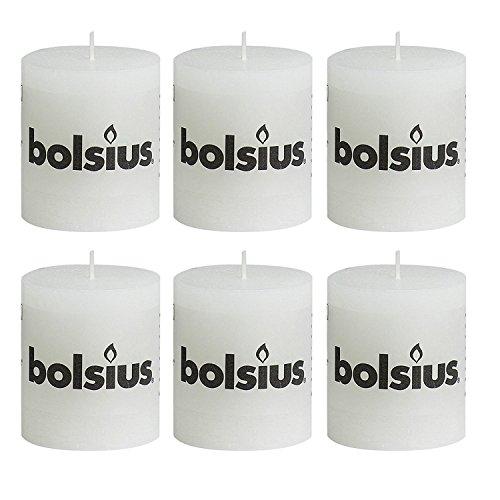 bolsius Stumpenkerze Rustik weiß 80x68 mm