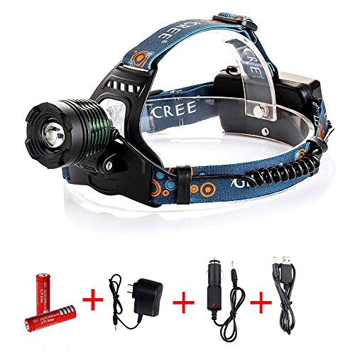 FirstRank 2100 Lumens Cree XM/L-T6 LED Rechargeable Waterproof Rotating Zoomable Headlamp Headlight (Black K12-B3,with 2x18650 Batteries and AC/Car/USB Charger)