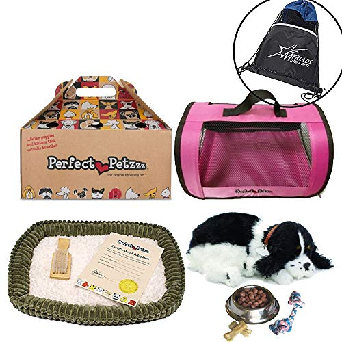 Perfect Petzzz Huggable Breathing Puppy Dog Pet Bed Cocker Spaniel with Pink Tote for Plush Breathing Pets, Dog Food, Treats, and Chew Toy