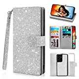 Newseego Compatible Samsung Galaxy S21 Ultra Wallet Case (6.8 Inch),Glitter PU Leather Magnetic Closure Multi-Credit Card Slot Cash Holder Detachable 2 in 1 Wallet Cover with Wrist Strap-Silver