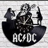 Yubingqin Reloj del Disco de Vinilo Pared, ACDC diseño Banda de Grandes Relojes de Pared de decoración, Regalos Hechos a Mano Reloj de Pared. (Color : A)