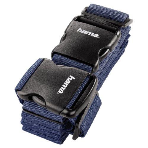 Hama 2-Wege-Gepäckgurt (doppeltes Band zum sicheren Verschließen der Koffers auf Reisen, 5x200 und 5x230 cm) blau