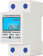 Romacci Medidor de energia elétrica digital monofásico em trilho DIN Medidor de eletricidade multifuncional de dois fios m...