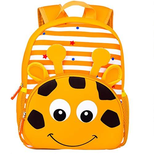 GWELL Süß Cartoon Babyrucksack Kindergartenrucksack Kindergartentasche Backpack Schultasche aus Neoprene für Kinder Mädchen Jungen Giraffe