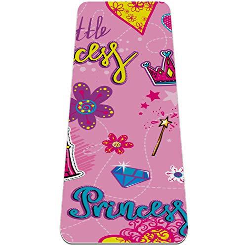 Esterilla de ejercicio de yoga de 72 x 32 pulgadas, respetuosa con el medio ambiente, superficie de goma natural con alineación corporal, rosa princesa