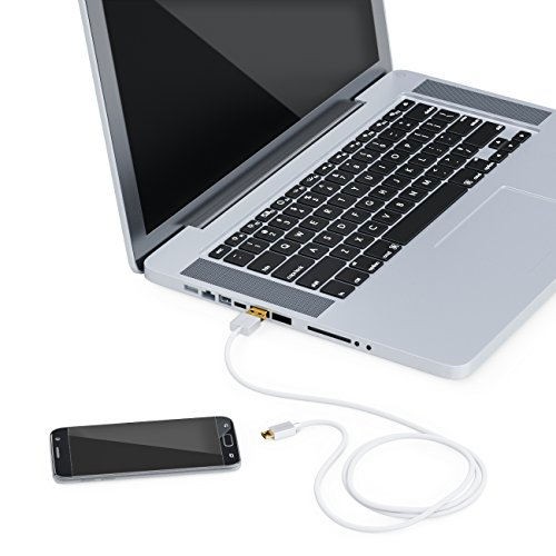 deleyCON 1m Micro USB Kabel Ladekabel Datenkabel Schnellladekabel für Handy Smartphone Tablet - PC Laptop Notebook - Weiß