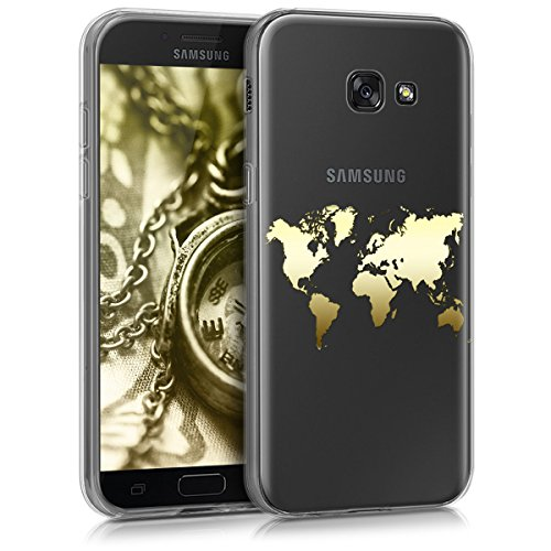 kwmobile Hülle kompatibel mit Samsung Galaxy A5 (2017) - Handyhülle - Handy Case Travel Umriss Gold Transparent