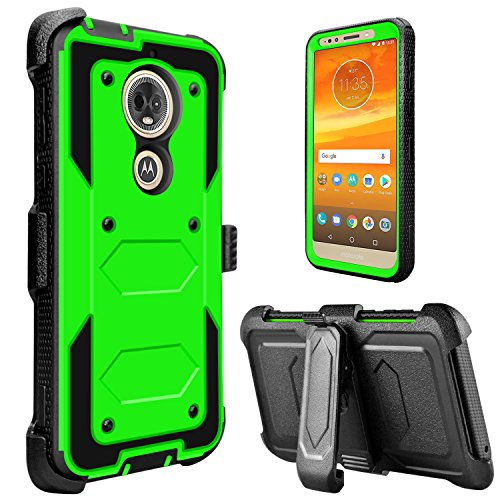 lovpec Moto E5 Play Case, Moto E5 Cruise Case, [Holster Series] Full Body Heavy Duty Shockproof Rugged Protective Case Cover with Kickstand and Belt Swivel Clip for Moto E Play (5th Gen) (Green)