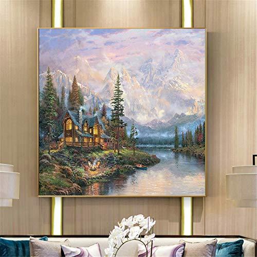 Geen lijst herfst berghut natuurlandschap muurschildering voor woonkamer muurkunst poster en druk
