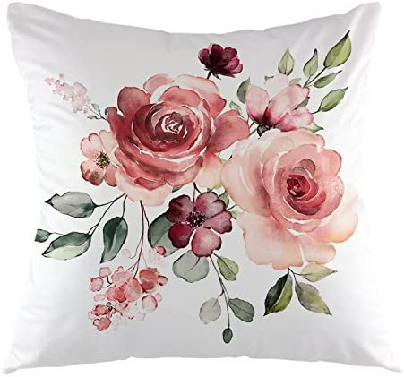 Best oFloral Flower Throw Pillow Cover Flower Floral Leaf Buds Pillow Case Square Decorative Cushion Cove