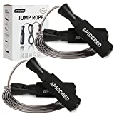2pack Steel Wire Jump Rope Adjustable Length Speed Crossfit Workout for Boxing MMA Fitness Training Men, Women, and Kids Skipping Rope with Skin-friendly Foam Handles