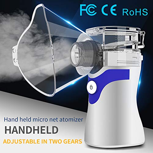 Portable Steam Inhaler Mini Cool Mist, Handheld Mesh Vaporizer, Ultrasonic Atomizer Humidifier Sprayer for Adults & Kids, USB & AA Battery Running