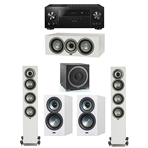 Sale!! ELAC Uni-Fi Slim White 5.1 System with 2 FS-U5 Floorstanding Speakers, 1 CC-U5 Center Speaker...