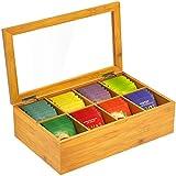 Bamboo Tea Bag Organizer Storage Box Wood Tea Chest with 8...